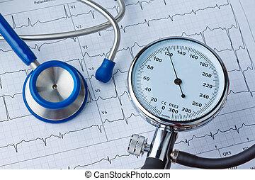 Krew, ciśnienie, mierzenie, ecg, krzywa
