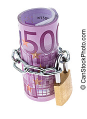 euro banknote complete with a chain