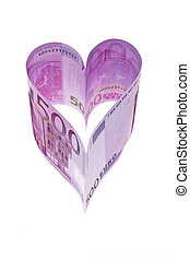 euro banknotes in the form of a heart - € 500 bill in the...