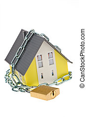 alarm safe house with chain - a house with chain and lock...