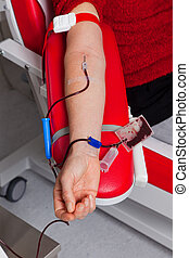 blood from the donated blood in blood laboratory