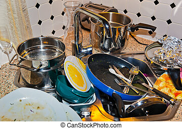 cluttered kitchen - in a kitchen, a large amount to wash the...