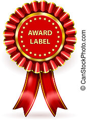 Award Label - Vector Red Award Label with ribbons and bow