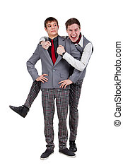 Funny students in checkered pants