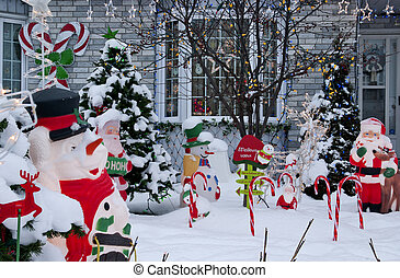 Frontyard Christmas - A home decorated for Christmas with...
