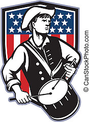 American Patriot Drummer With Flag - Illustration of an...