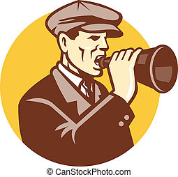 Man Shouting With Vintage Bullhorn Retro - Illustration of a...