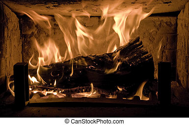 Romantic fire with log burning