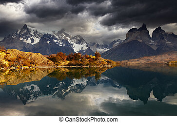 Sunrise in Torres del Paine National Park, Lake Pehoe and...