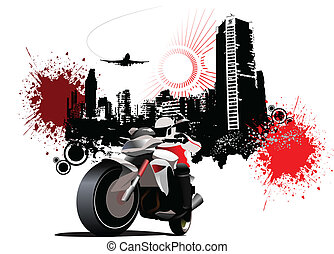 City biker on grunge urban background Vector illustration