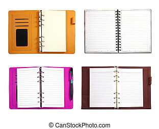 Collection of blank binder notebook isolated on white