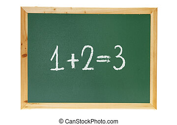 Black Board with Addition on White Background