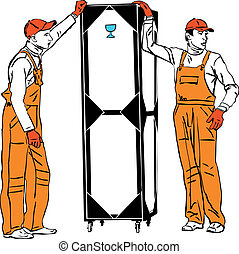 two longshoremen in orange combinations hold a box - a two...