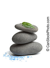 spa stones with leaf and salt  isolated
