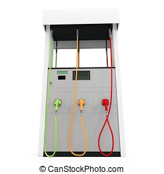 3d eco gas pumps on white background