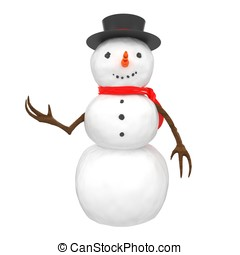 3d snowman with hat and scarf