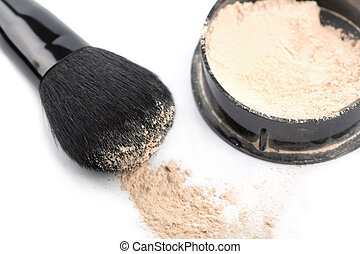 powder and black brush isolated