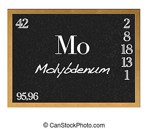 Molybdenum. - Isolated blackboard with periodic table,...