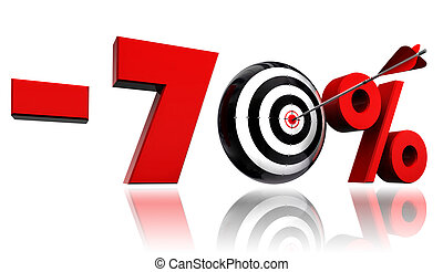 seventy per cent red discount symbol with target and arrow