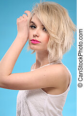 Sensual blonde hair woman - Sensual portrait of a beautiful...
