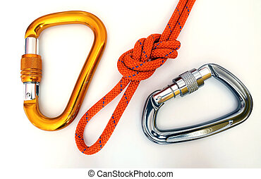 Climbing equipment - carabiners and knot - Climbing...