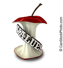 Core Values - An apple core with extruded text spelling out...