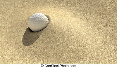Golf Sand Trap - A golf ball plugged deep in a sand trap