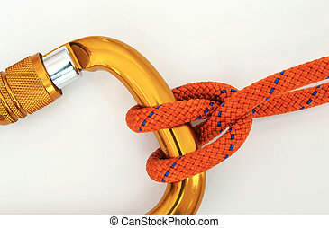 Climbing equipment - carabiner and knot - Climbing equipment...
