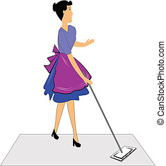 woman mopping floors - retro woman mopping floor over white...