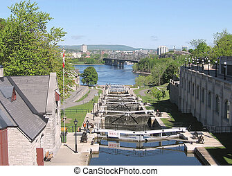 Ottawa Locks and River 2008 - Rideau Canal Locks on the...