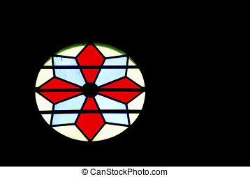 stained glass gothic window in church isolated on black