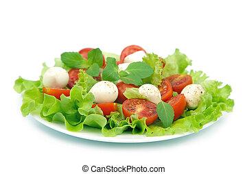 salada, tomates, mozzarella, isolado