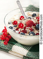 yoghurt with cereal and wild berries