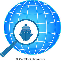 icon with ship and magnifier with p - blue symbol - icon...