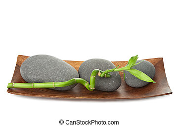 grey spa stones and bamboo isolated