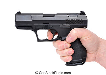 Semi 9mm - hand holding a handgun
