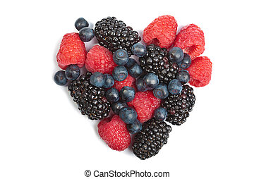 heart of fresh berries isolated