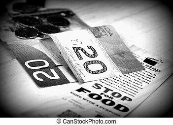 Canadian Money and Charity - Canadian money on a table...