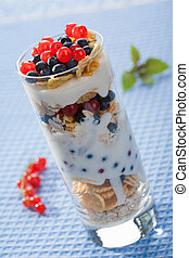 yogurt with cereal and  berries