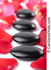 spa stones and rose petals isolated spa background