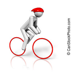 Cycling Road 3D symbol - three dimensional cycling road...
