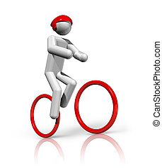 Cycling Mountain Bike 3D symbol - three dimensional cycling...