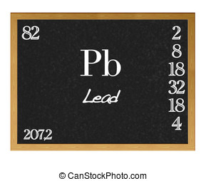 Lead, Pb. - Isolated blackboard with periodic table, Lead.
