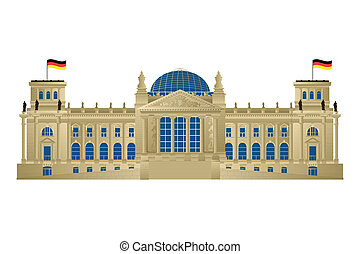 Reichstag - Detailed illustration of Berlin's parliament,...
