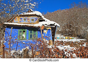 Colorful house in winter