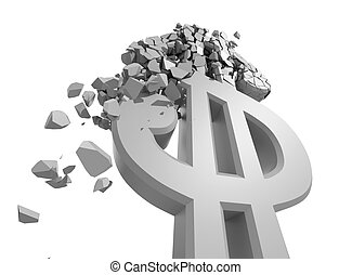 Rendered image of Dollar sign crumbling isolated on white.