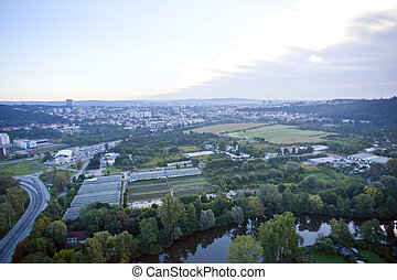 Highly detailed aerial city view with crossroads, roads, houses, parks, parking lots, bridges, Brno, Czech Republic