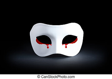 Bloody Tears - Suffering concept. White mask with bloody...