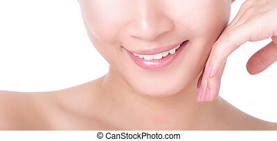 beautiful woman mouth and lips with charming smile