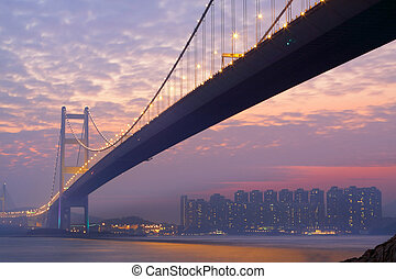 bridge at sunset moment, Tsing ma bridge